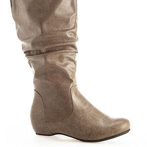 Almere Taupe Tall Ruched Boots - Size 8W